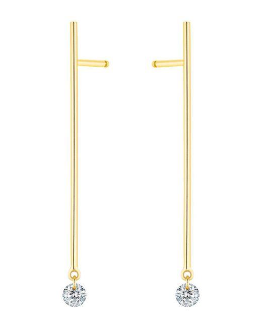 La Brune Et La Blonde - Metallic 18k Yellow Gold 360 Diamond Stick Drop Earrings - Lyst