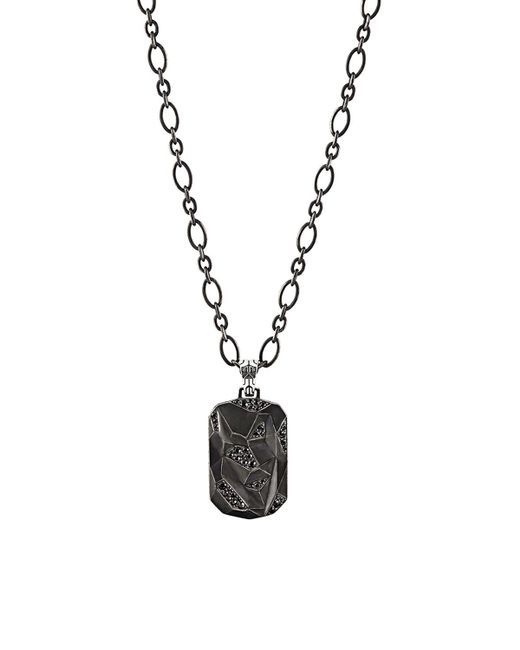 John Hardy   Metallic Men's Classic Chain Silver Lava Dog Tag Pendant On Chain Necklace With Black Sapphire for Men   Lyst