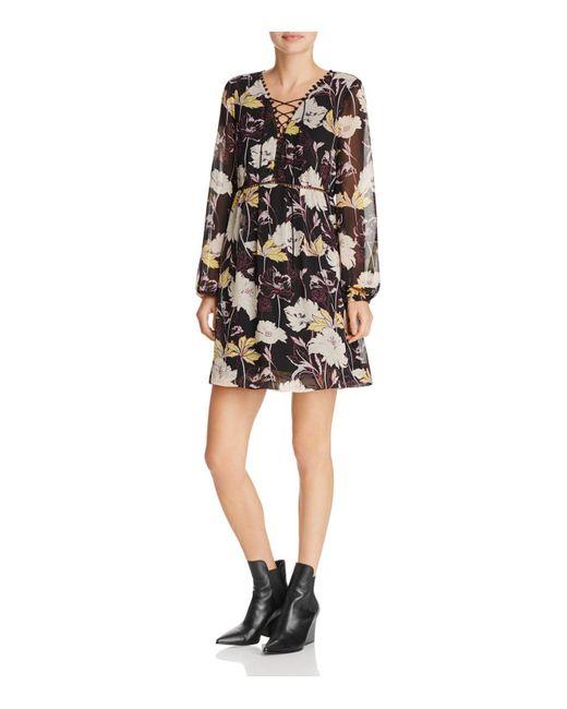Ella Moss | Black Floral Haze Front Lace-up Dress | Lyst
