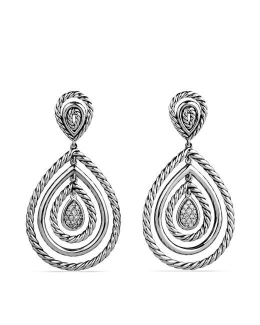 David Yurman   Metallic Cable Classics Teardrop Earrings With Diamonds   Lyst