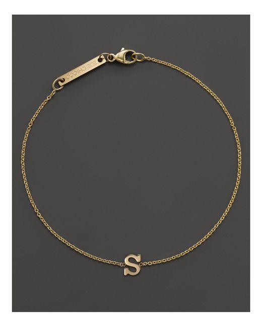 Zoe Chicco | 14k Yellow Gold Initial Bracelet | Lyst