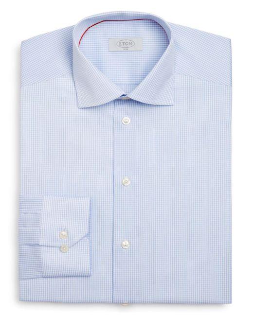 e0050b417b7 Eton of Sweden - Blue Of Sweden Grid Check Slim Fit Dress Shirt for Men ...