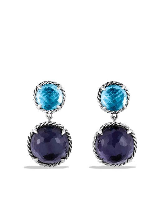 David Yurman | Châtelaine Double-drop Earrings With Black Orchid & Blue Topaz | Lyst