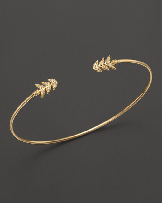 Mizuki | 14k Yellow Gold Double Feather Cuff Diamond Bracelet | Lyst