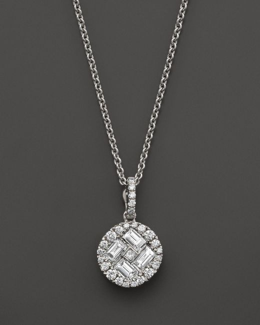 Roberto Coin | 18k White Gold Diamond Baguette Pendant Necklace, 15.5"