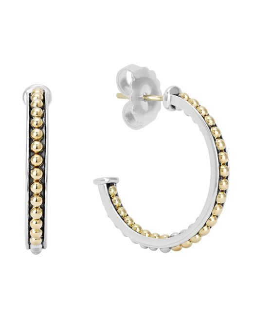 Lagos | Metallic 18k Gold And Sterling Silver Enso Small Caviar Lined Hoop Earrings | Lyst