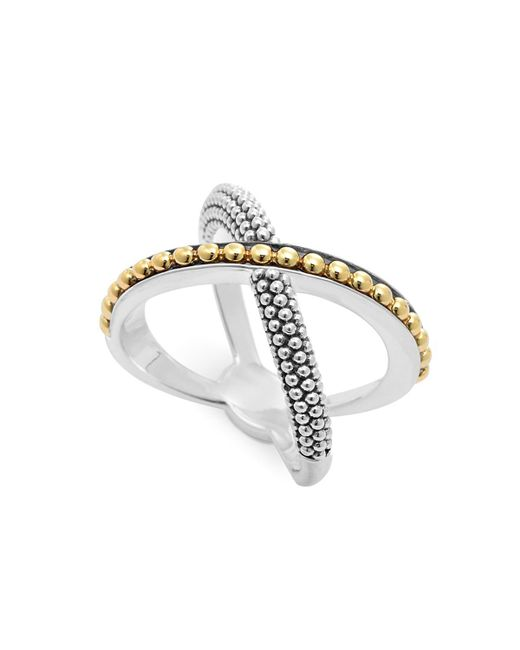 Lagos | Metallic 18k Gold And Sterling Silver Enso X Ring | Lyst