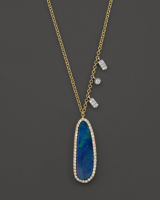 Meira T | 14k Yellow Gold Oval Blue Opal Necklace With Diamonds, 16"