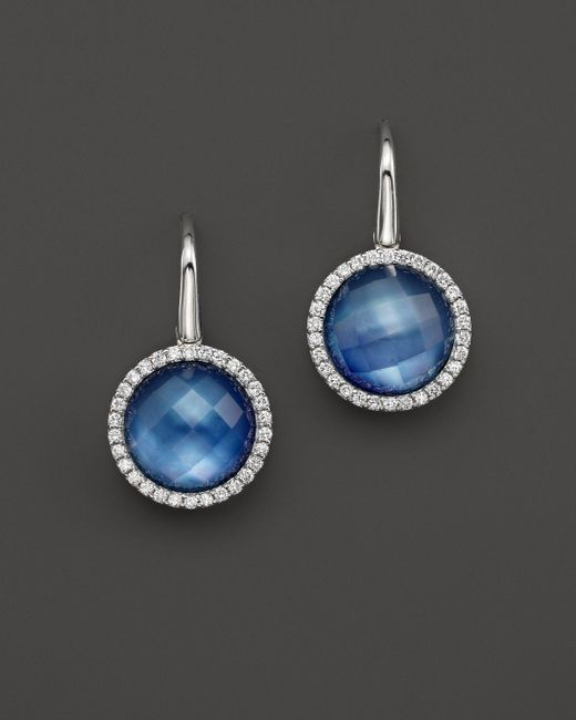 Roberto Coin | 18k White Gold Fantasia Blue Topaz, Lapis And Mother-of-pearl Triplet Cocktail Earrings With Diamonds | Lyst