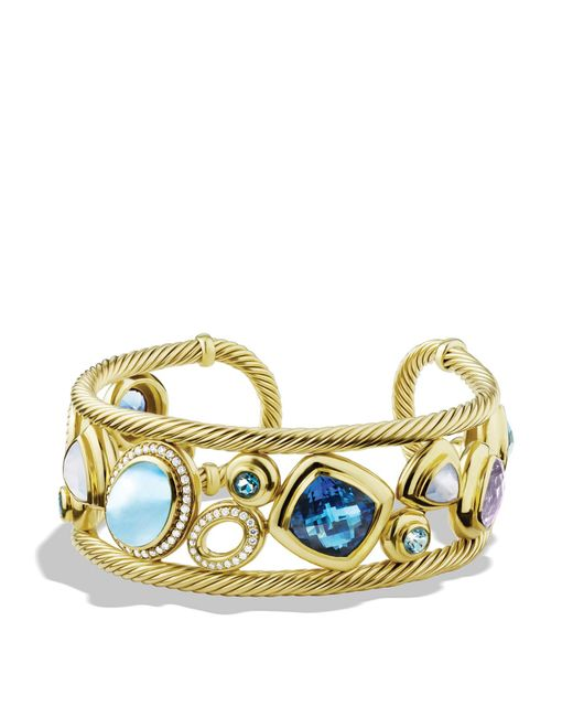 David Yurman | Metallic Mosaic Cuff With Blue Topaz And Diamonds In Gold | Lyst