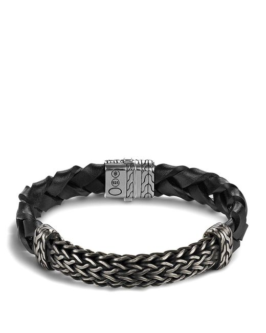John Hardy | Men's Classic Chain Extra Large Oxidized Sterling Silver Station And Braided Black Leather Bracelet for Men | Lyst