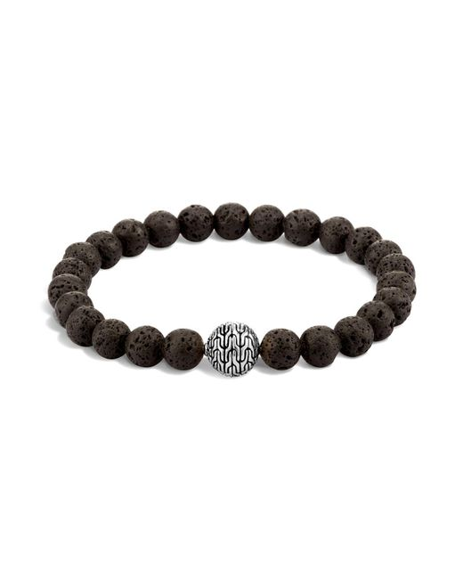 John Hardy | Men's Sterling Silver Classic Chain Large Beaded Bracelet With Black Volcanic Rock for Men | Lyst