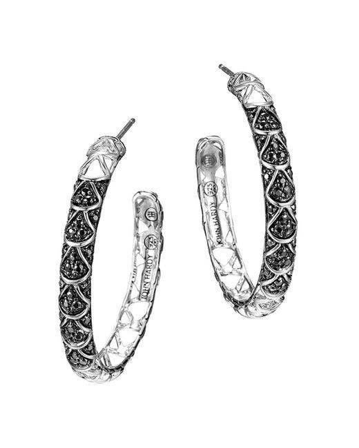 John Hardy | Metallic Naga Sterling Silver Lava Hoop Earrings With Black Sapphire | Lyst