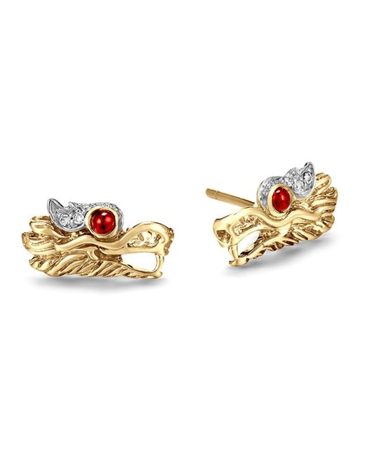 John Hardy | Metallic 18k Gold Naga Diamond Pave Extra Small Dragon Head Studs Earrings With African Ruby Eyes | Lyst