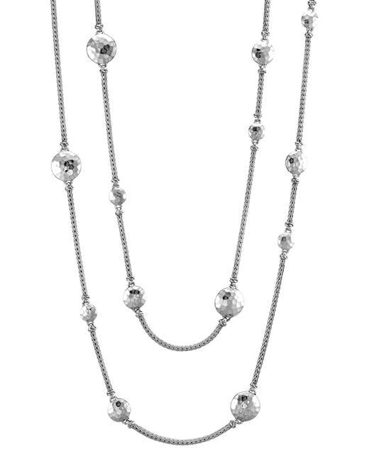 "John Hardy | Metallic Sterling Silver Palu Disc Station Sautoir Necklace, 72"" | Lyst"