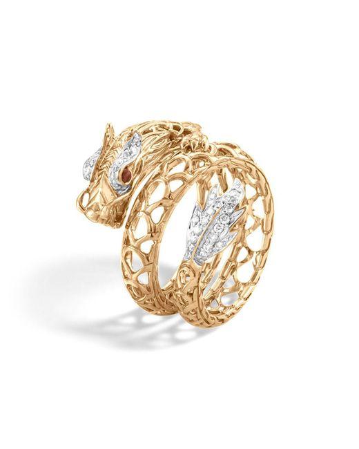 John Hardy | Metallic 18k Gold Naga Diamond Pave Dragon Coil Ring With African Ruby Eyes | Lyst