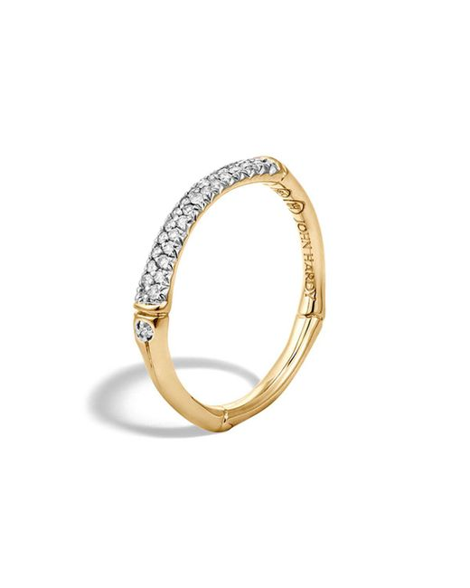 John Hardy   Metallic Bamboo 18k Yellow Gold Diamond Pave Slim Band Ring   Lyst
