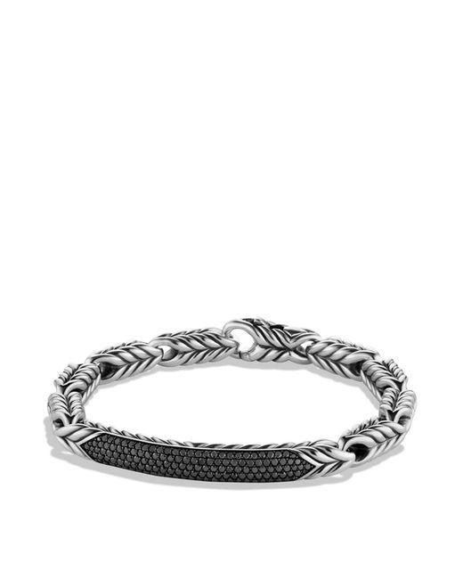 David Yurman | Metallic Chevron Id Bracelet With Black Diamonds for Men | Lyst