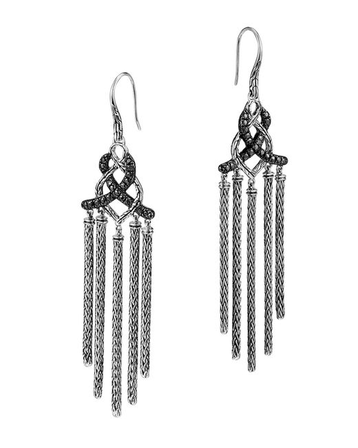 John Hardy | Metallic Classic Chain Silver Lava Chandelier Earrings With Black Sapphire - Bloomingdale's Exclusive | Lyst