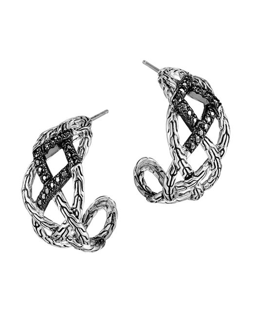 John Hardy | Metallic Classic Chain Silver Lava Woven Braided Saddle Hoop Earrings With Black Sapphire - Bloomingdale's Exclusive | Lyst