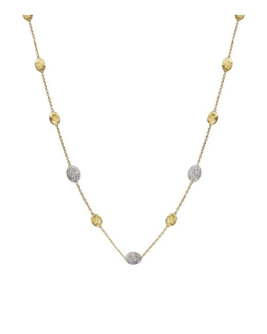 Marco Bicego | Metallic Siviglia 18k Yellow Gold Necklace With Diamonds, 16.5"