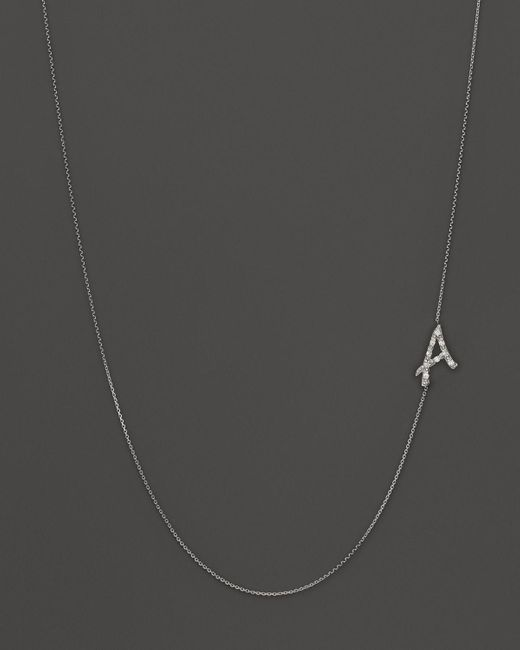 KC Designs | Metallic Diamond Side Initial A Necklace In 14k White Gold, .05 Ct. T.w. - 100% Exclusive | Lyst