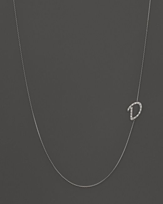 KC Designs | Metallic Diamond Side Initial D Necklace In 14k White Gold, .09 Ct. T.w. | Lyst