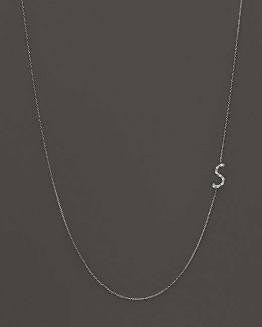 KC Designs | Diamond Side Initial S Necklace In 14k White Gold, .05 Ct. T.w. | Lyst