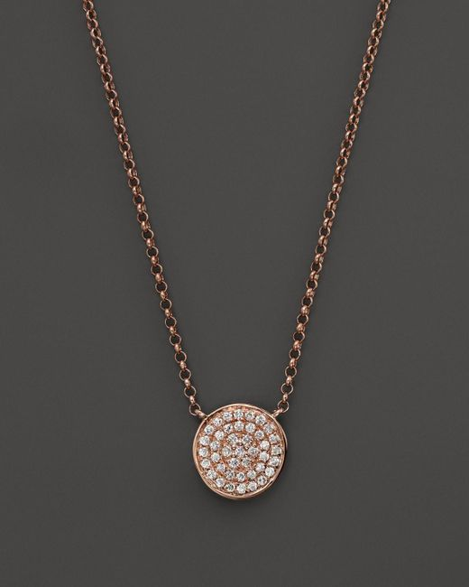 KC Designs | Pink Diamond Pave Disc Pendant Necklace In 14k Rose Gold, 17.5"