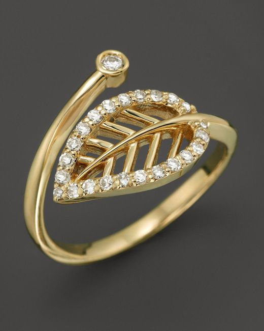 KC Designs | Metallic Diamond Leaf Midi Ring In 14k Yellow Gold - 100% Exclusive | Lyst