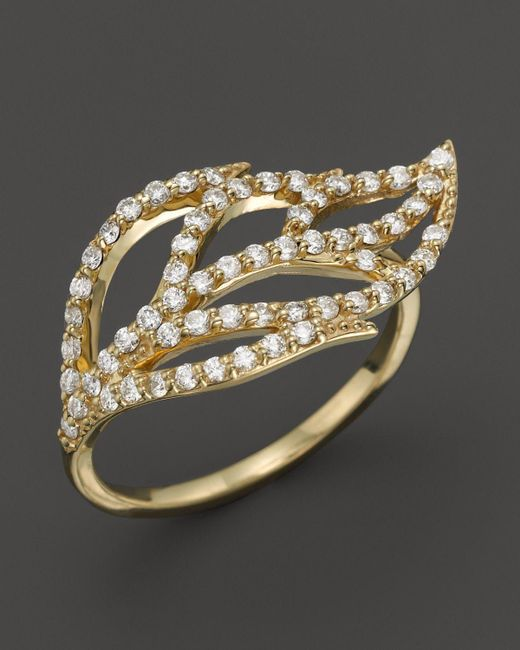KC Designs | Metallic Diamond Leaf Ring In 14k Yellow Gold - 100% Exclusive | Lyst