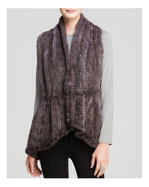 Maximilian | Blue Maximilian Knitted Mink Vest With Knit Back | Lyst
