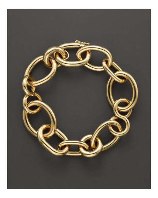 Roberto Coin | Metallic 18k Yellow Gold Alternating Shape Link Bracelet | Lyst