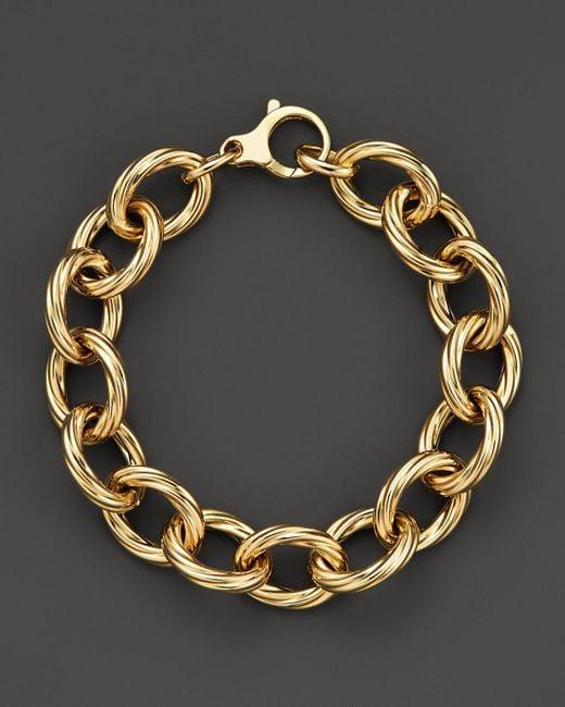 Roberto Coin | Metallic 18k Yellow Gold Textured Oval Link Bracelet - Bloomingdale's Exclusive | Lyst