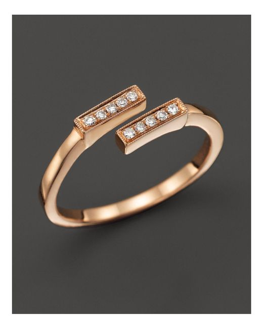 Dana Rebecca | Pink 14k Rose Gold And Diamond Double Bar Ring, .07 Ct. T.w. | Lyst