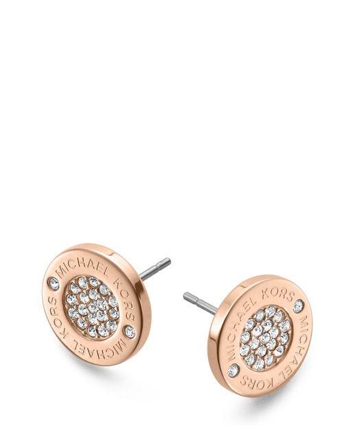 Michael Kors | Pink Pavé Logo Stud Earrings | Lyst