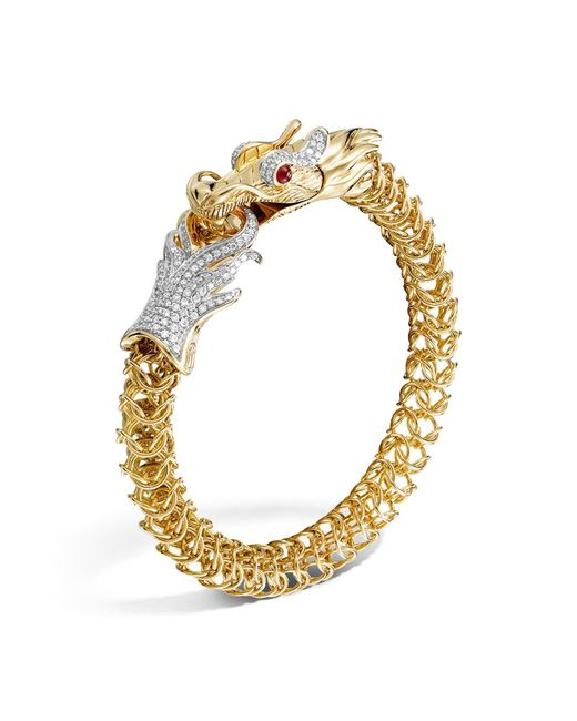 John Hardy | Metallic Diamond, Ruby & 18k Yellow Gold Medium Naga Dragon Bracelet, .86 Ct. T.w. | Lyst
