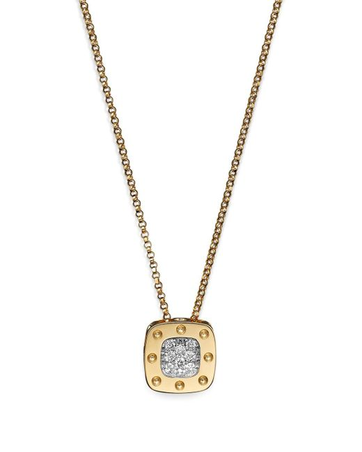 Roberto Coin | Metallic 18k Yellow And White Gold Square Pois Moi Pendant Necklace With Diamonds, 16.5"