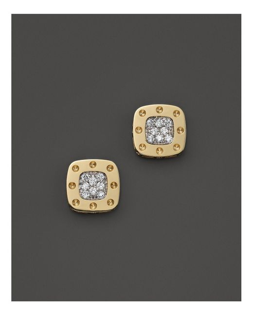 Roberto Coin | Metallic 18k Yellow And White Gold Square Pois Moi Earrings With Diamonds, .24 C.t. T.w. | Lyst