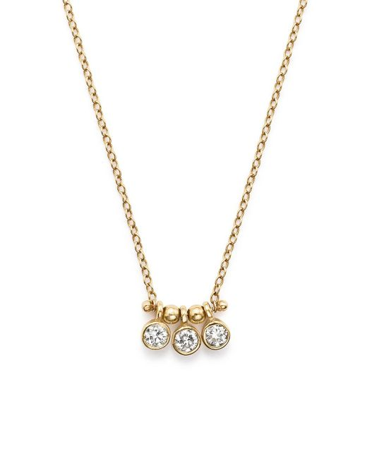 Zoe Chicco | Metallic 14k Yellow Gold And Diamond Bezel-set 3 Necklace, 16"