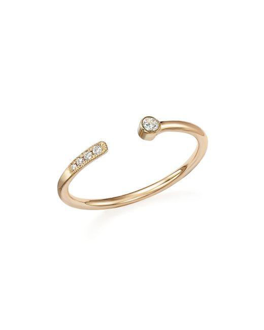 Zoe Chicco | Metallic 14k Yellow Gold And Diamond Midi Ring, .06 Ct. T.w. | Lyst