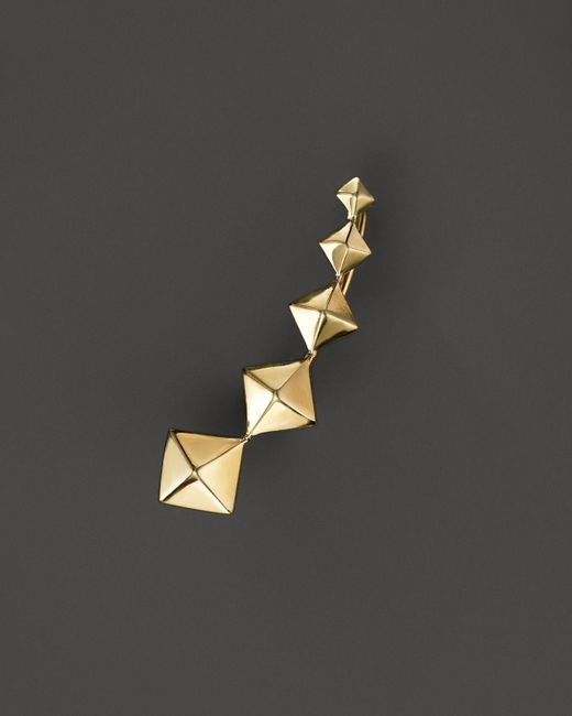 Zoe Chicco | Metallic 14k Yellow Gold Graduated Pyramid Single Ear Cuff, Right | Lyst