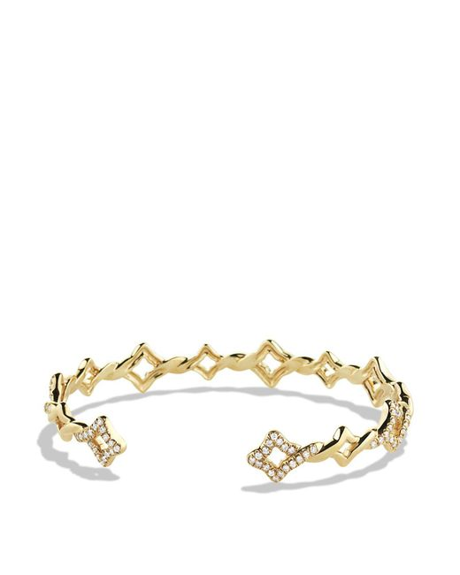 David Yurman | Metallic Venetian Quatrefoil Single-row Cuff Bracelet With Diamonds In Gold | Lyst
