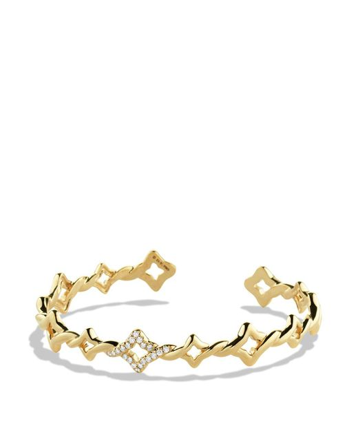 David Yurman | Metallic Venetian Quatrefoil Single-row Cuff Bracelet With Diamonds In Gold | Lyst