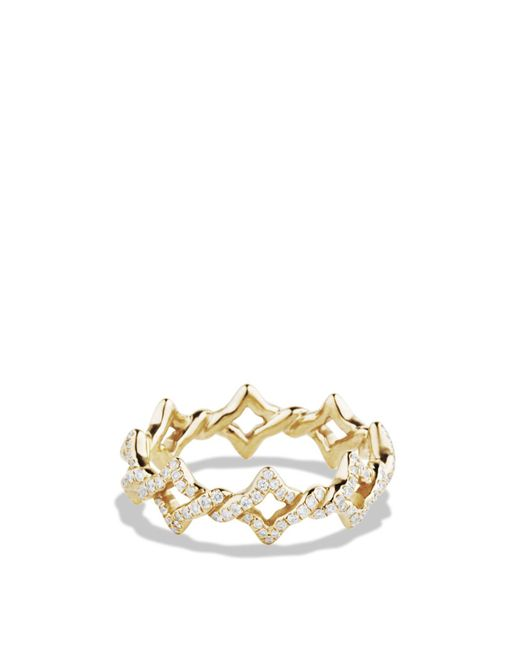 David Yurman | Metallic Quatrefoil Stacking Ring With Diamonds In Gold | Lyst