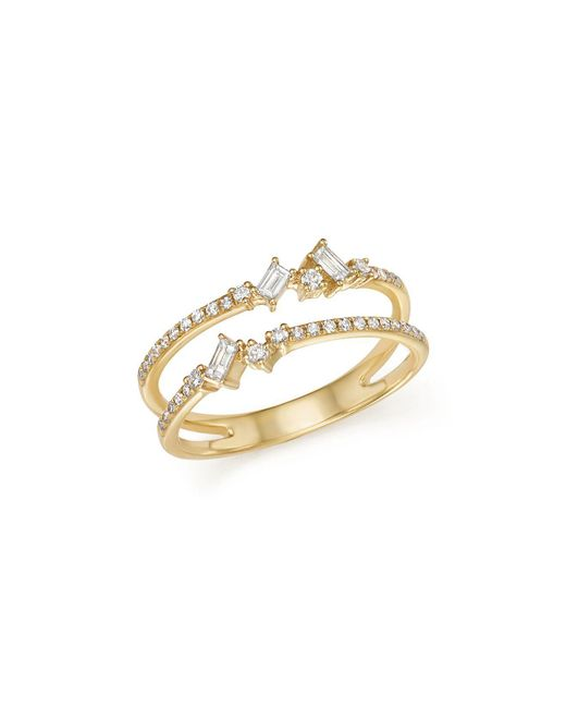 KC Designs | Metallic 14k Yellow Gold Mosaic Diamond Double Bar Ring | Lyst