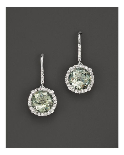 Roberto Coin | 18k White Gold And Prasiolite Drop Earrings With Diamonds | Lyst