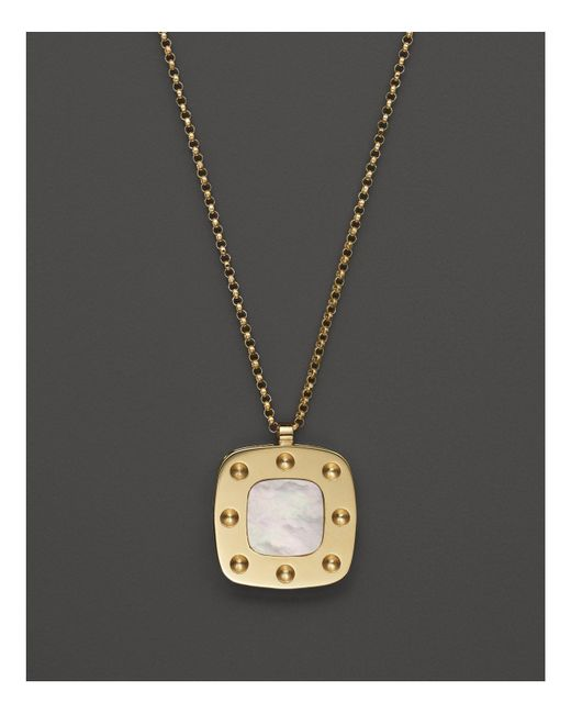 Roberto Coin | Metallic 18k Yellow Gold And Mother-of-pearl Pois Moi Pendant Necklace, 17"