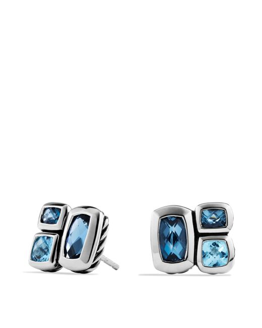 David Yurman | Metallic Confetti Stud Earrings With Blue Topaz And Hampton Blue Topaz | Lyst