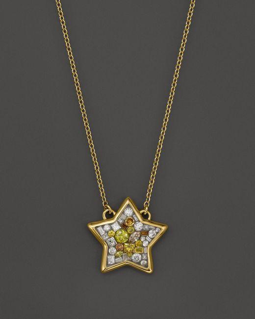 "Plevé | Metallic 18k Yellow Gold Sun Burst Mosaic Star Pendant Necklace With Diamonds, 16.5"" | Lyst"